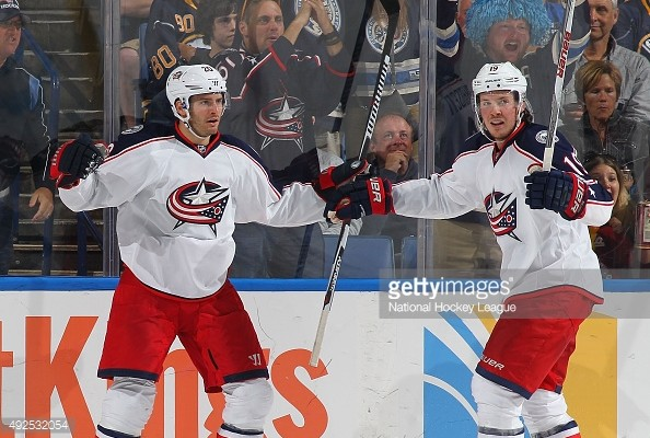 of the Buffalo Sabres of the Columbus Blue Jackets on October 12, 2015 at the First Niagara Center in Buffalo, New York.